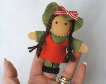 Girl In Braids Felt Finger Puppet,  Hand Stitched Little Girl With Hat, Storytelling Prop, 3D Puppet