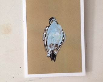 Dead Bird no.2, 5x7 card Original ink Drawing and gouache paint on brown paper, Ready to Ship