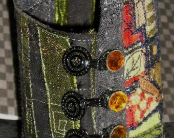 Fabric Cuff Bracelet Wrist Corset Rich Fall Colors Glass Vintage Buttons OOAK  Wearable Art