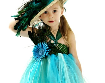Peacock Bridal Wedding Flower Girl Tulle Tutu Dress with Optional Straw Hat for Girls