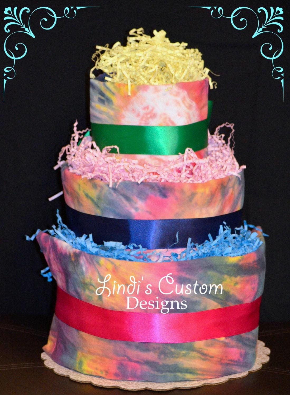 Dye Cake Tie-dye 3 Tier Diaper Cake