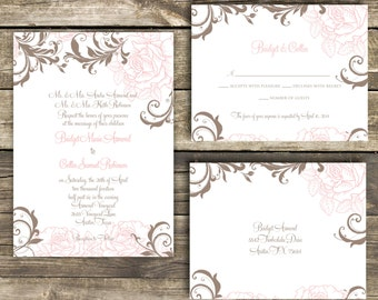 PRINTABLE Wedding Invitation Suite DIY - Rustic Rose Wedding Collection  (Colors and Wording Can Be Customized)