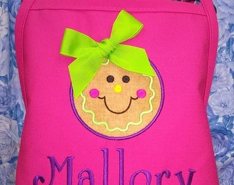 Personalized Apron Cookie Applique Girls Birthday Gift