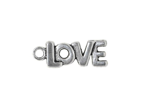 10 Love Word Charms in Silver Tone - C121