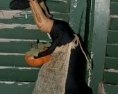 Primitive Halloween Witch Gertie stump cupboard soft sculpture doll