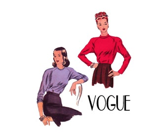 1940s Raglan Blouse Easy to Make Vogue 5522 40s Vintage Sewing Pattern Misses Size 12 Bust 30 From 1945