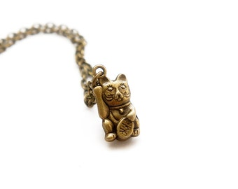 Maneki Neko Necklace - Japanese Lucky Cat Charm Necklace - C0006