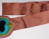 HOLIDAY GIFT SALE!  Peacock Applique Silk Bow Cinch Belt Handmade Christmas Gift by MaryGwyneth Fine Wearable Art