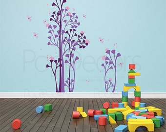 """Children Playroom Floral Trees Wall Decals Dragonflies Flowers Stickers- Peaceful Garden (47""""H) - Nature Removable Wall Graphics pt0147"""