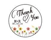"Wedding Stickers 1.2"" - CUSTOM Thank You  - Spring // Summer // flowers // Kraft // White // round / circle seals / labels 3.05cm"