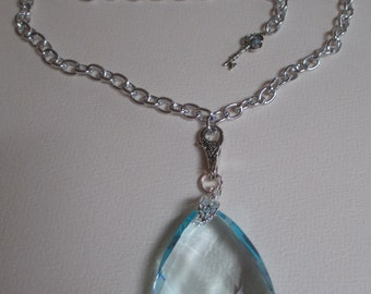 Aqua Crystal Prism Necklace Silver Tone Chain Adjustable Length