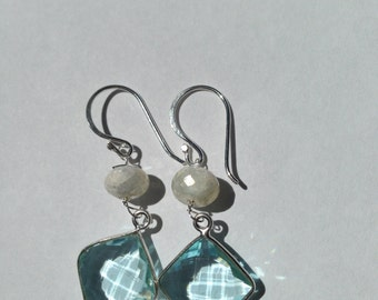 White Silverite, Blue Quartz Silver Earrings, Lilyb444, Etsy jewelry, Etsy Wedding,