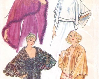 80s Womens Evening Cover-Ups Evening Wraps Vogue Sewing Pattern 7233 One Size UnCut Vintage 80s Vogue Sewing Pattern