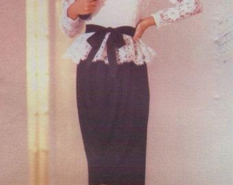 80s Kasper Womens Sheer Peplum Top & Dress Vogue Sewing Pattern 1189 Size 10 Bust 32 1/2 UnCut Mother of the Bride Vogue American Designer