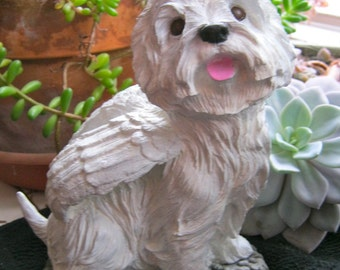 Westie Angel Statue, White West Highland Terrier, Cement Garden Dog Memorial, Concrete Statues, Outdoor Dog Statue, Concrete Westie Dog Art
