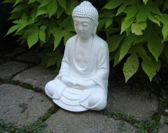 Buddha Statue Meditating, White Buddhist Concrete Statues, Oriental Cement Garden Figure, Buddha Figurine, Concrete Buddhas