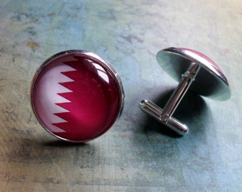 QATAR FLAG Silver Cuff Links / Flag of Qatar / Country Flag Cufflinks / Groomsman gift / Father's Day Gift / Patriotic Gift / National Flag