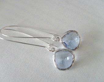 Pale STEEL BLUE Drop EARRINGS // Faceted Glass // Silver // Dangle // Bridesmaid // Bridal // Simple