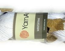 Wintertime yarn, YarnArt yarn, Springtime yarn. Whitr yarn with beads and leafs embedded. Wool acrylic blend sequin beaded, leaves ships
