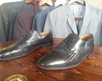 Handmade Mezlan 60s Mod Style Black Weave 10.5 Brogues Oxfords Made in Spain