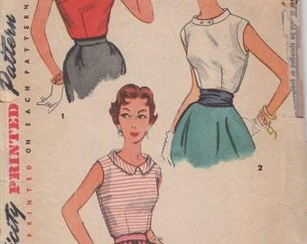 1950's Misses' Blouse Simplicity 4613 Size 12 Bust 30
