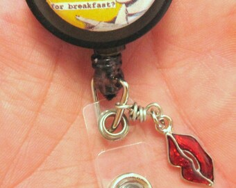 Retractable ID Badge Reel Eat a Bowl of Stupid Humor Name Tag Holder