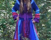 OOAK Made for you Custom size  upcycled Rainbow OZ  Kaleidoscope recycled sweater traveling dream elf coat