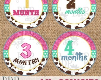 """Lil Cowgirl Onesize Month Stickers - 4"""" diameter - INSTANT DOWNLOAD"""