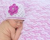 Pink Alpaca Flapper Baby Hat with Flower for Newborn