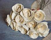 One Dozen Stemmed Paper Flowers - 12 Piece Vintage Book Paper Flowers - Stemmed Paper Roses - Home or Party Decorations