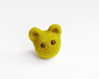 Felt Teddy Bear Ring - Needle Felted - Animal Jewellery - Green Bear
