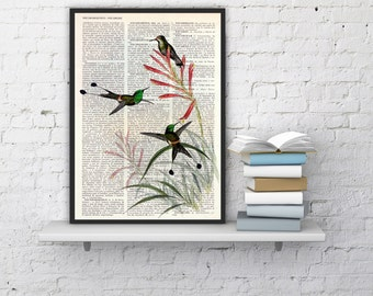 Summer Sale Hummingbirds on flowers Print on Dictionary page Art illustration Upcycled book print Perfect gift giclee print ANI117