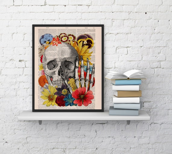 Summer Sale Skull with flowers collage art ,Wall decor Skull flower collage Print on Vintage Book,giclee print , Skull art SKA081bX