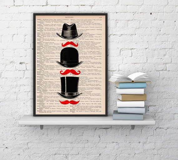 Upcycled book Hat & Moustache Art Print Upcycled Book Print BPTV110