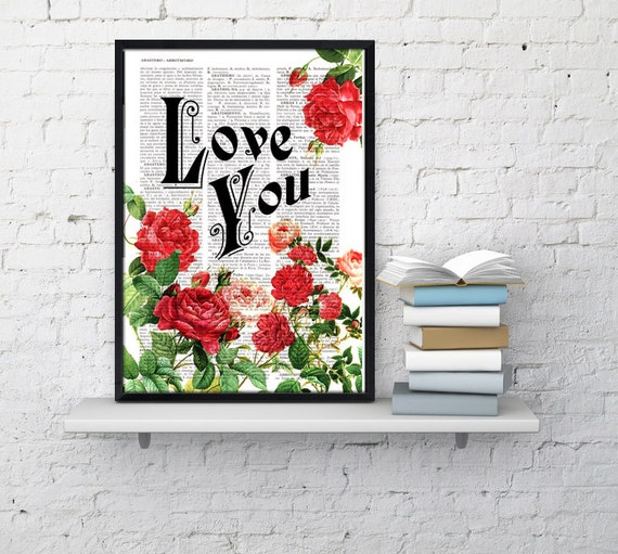 Summer Sale Book print art Love  Roses collage  Upcycled book page Art Dictionary book print BFL042