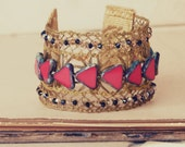 Boudicca: Handmade bracelet w/ Antique French gold lace, vintage 1920s beads, artisanal glass beads & swarovski Regal, Queen, Statement