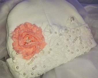 Baby Girl Hospital Beanie Lace Flower hat