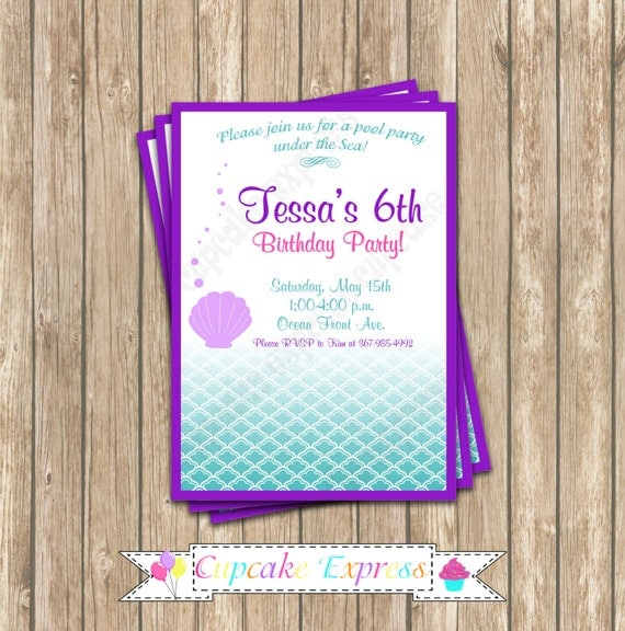DIY  Ariel Inspired  little mermaid Birthday Party  PRINTABLE Invitation 5x7 4x6  purple teal under the sea