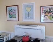 White Wine Glass Paper Art Print, Bar Art Print, Quilling Art Glass of wine Print, dining room art, Chardonnay, Sauvignon Blanc, Riesling