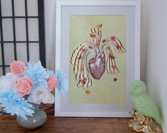 heart pouring out with love, poster, Paper art print, quilling and etching illustration, 12 x 18 in, print, Ready to ship