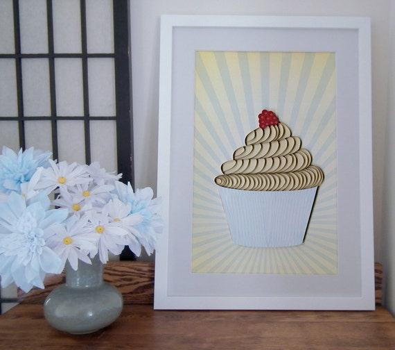 Cupcake poster, Kitchen decor print, quilled cupcake, quilling art print, Paper art print, 12x18in, Ready to ship