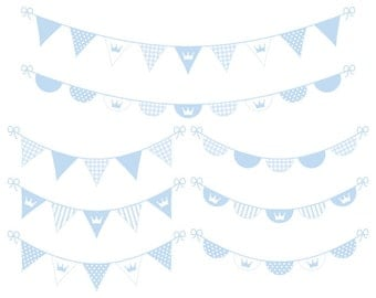Digital Banner Clipart - Blue Digital Bunting Clip Art - Baby Boy Clipart - Printable Banner - Instant Download - Commercial Us
