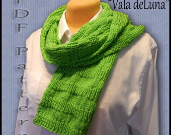 "Easy Knitted Scarf Pattern ""Vala deLuna"""