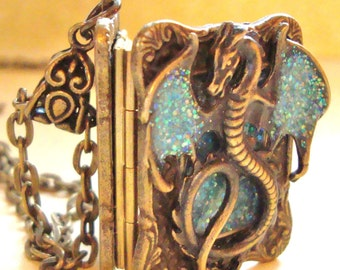 Not just a DRAGON, it's a Wicked Wings Wyvern Secret Message Fancy Tome LOCKET, book locket, all metal, you choose sparkly color