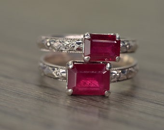 Ruby Ring, all sizes, emerald cut silver milgrain solitaire, July Birthday - Fitz Ring