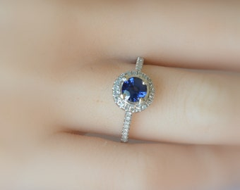 1 carat ultra fine royal blue sapphire,  white gold diamonds halo engagement ring  127B