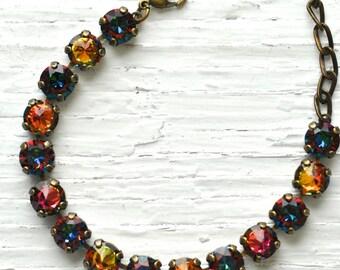 Rainbow Bracelet Swarovski Crystal RARE Rainbow Spike Rhinestone Bracelet Mashugana