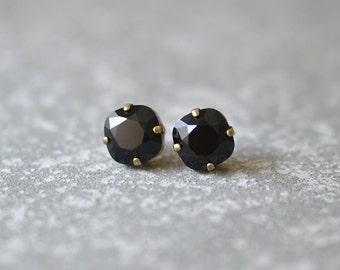 Black Earrings Swarovski Black Studs Rounded Square Swarovski Crystal Black Stud Earrings Mashugana