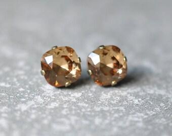 Dark Champagne Swarovski Crystal Earrings Rounded Square Dark Champagne Diamond Square Princess Cut Studs Mashugana