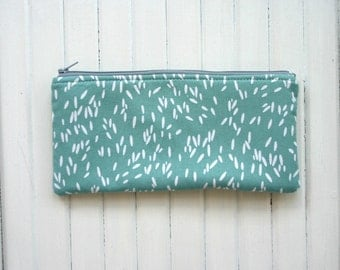Aqua green dot seeds pencil case Back to school designer fabric